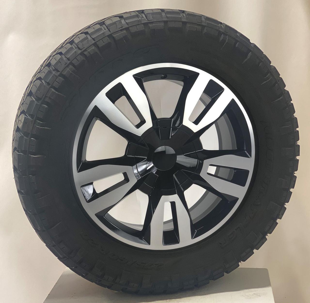 "Black and Machine 20"" RST Style Split Spoke Wheels with Nitto Ridge Grappler Tires for GMC Sierra, Yukon, Denali - New Set of 4"