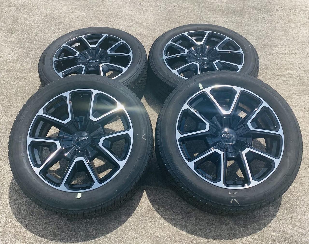 "New OEM Takeoff 22"" Chevy RST Black and Machine Wheels and Bridgestone Tires - Set of 4"