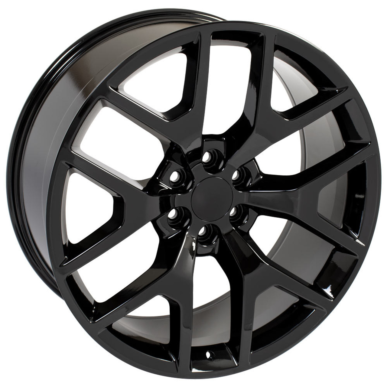 """Gloss Black 24"""" Honeycomb Wheels with 295/35R24 Tires for Chevy and GMC Trucks and SUVs"""