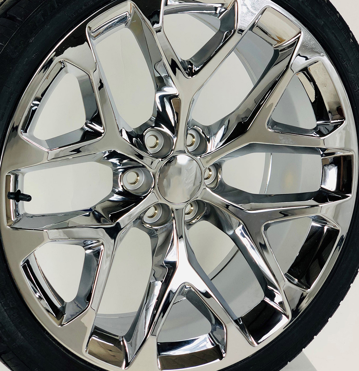 """Chrome 24"""" Snowflake Wheels with 305/35R24 Nitto Terra Grappler Tires for Chevy and GMC Trucks and SUVs"""