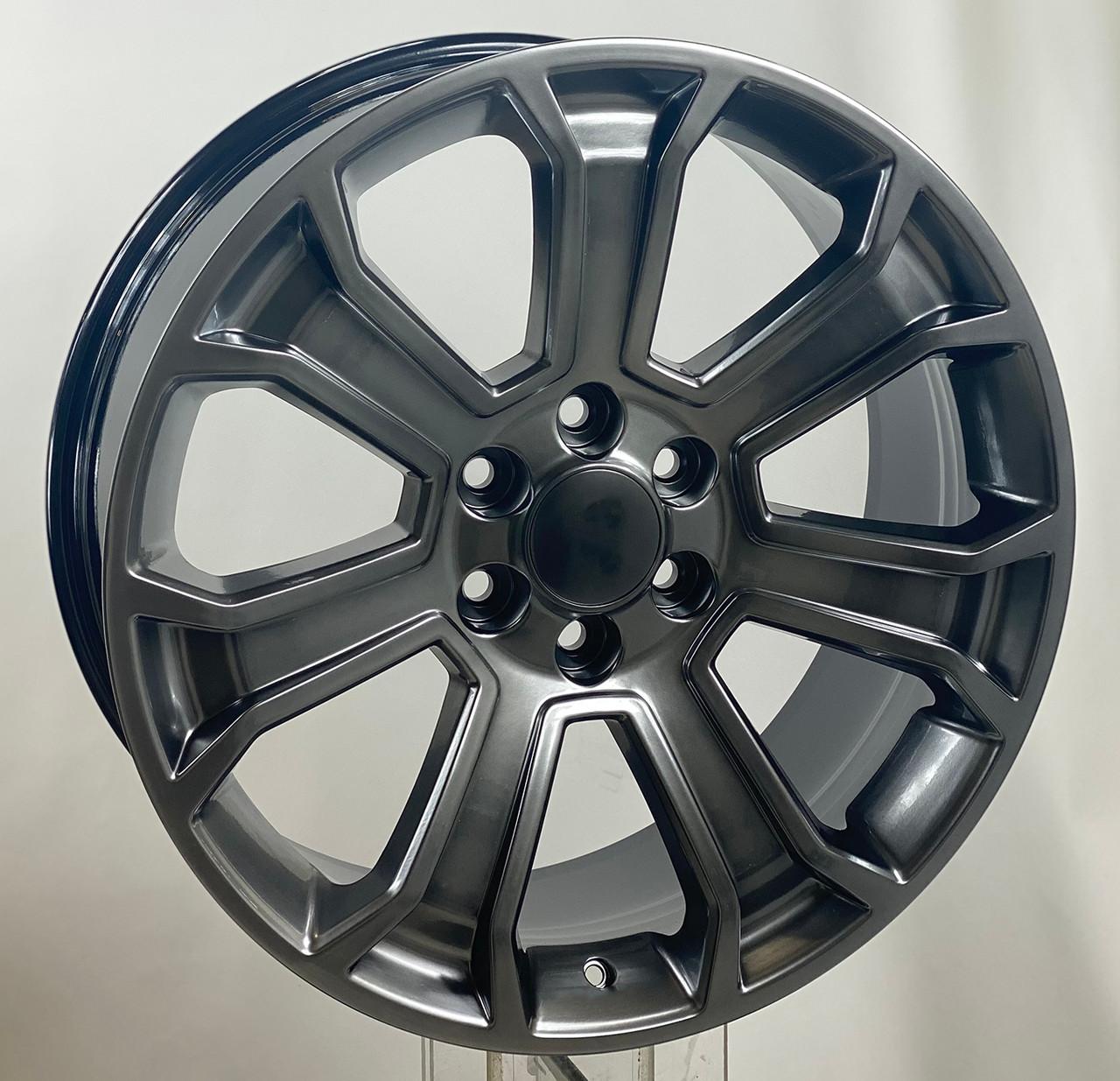 """Hyper Silver 22"""" Seven Spoke Wheels for GMC Sierra, Yukon, Denali"""