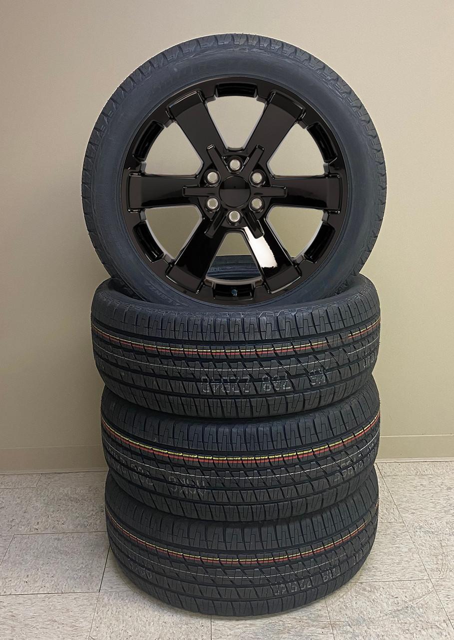 "Gloss Black 22"" Rally Style Six Spoke Wheels with Bridgestone Tires for Chevy Silverado, Tahoe, Suburban - New Set of 4"