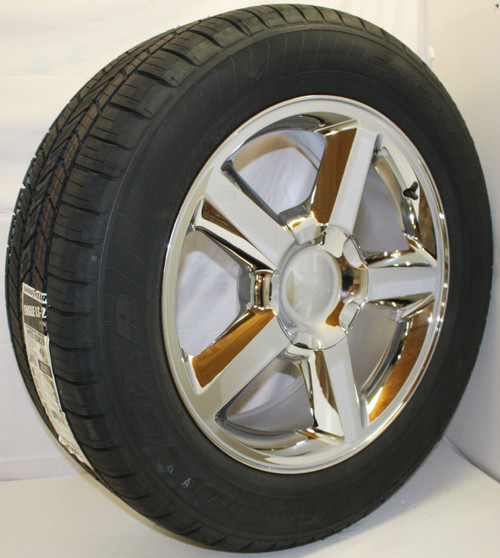 "Chrome 20"" Old Style LTZ Wheels with Goodyear Tires for Chevy Silverado, Tahoe, Suburban - New Set of 4"