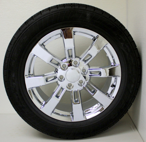 "Chrome 20"" Eight Spoke Wheels with Goodyear Tires for Chevy Silverado, Tahoe, Suburban - New Set of 4"