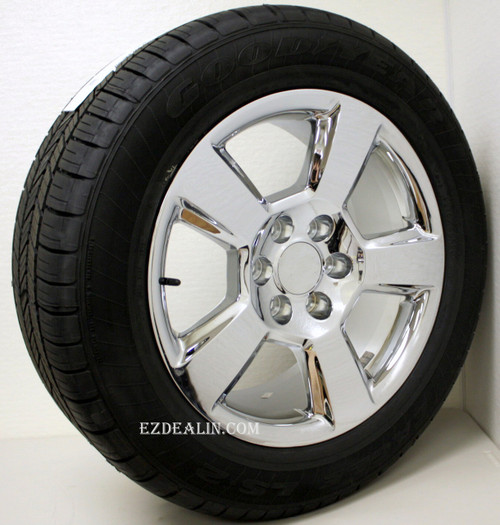 """Chrome 20"""" New Style LTZ Wheels with Goodyear Tires for Chevy Silverado, Tahoe, Suburban - New Set of 4"""