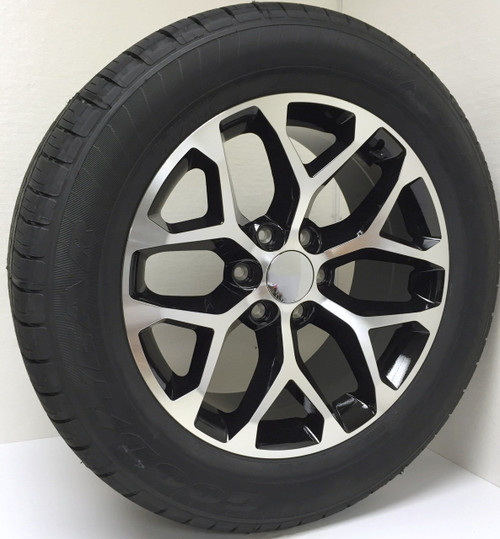 "Black and Machine 20"" Snowflake Wheels with Goodyear Tires for Chevy Silverado, Tahoe, Suburban - New Set of 4"