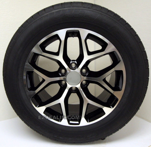 "Black and Machine 20"" Snowflake Wheels with Goodyear Tires for GMC Sierra, Yukon, Denali - New Set of 4"
