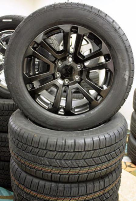 "Satin Matte Black 20"" Split Spoke Wheels with Goodyear Tires for GMC Sierra, Yukon, Denali - New Set of 4"
