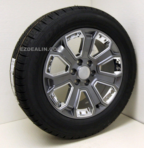 "Gunmetal 20"" With Chrome Inserts Wheels with Goodyear Tires for Chevy Silverado, Tahoe, Suburban - New Set of 4"