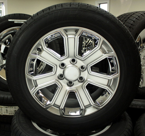 "Hyper Silver 20"" With Chrome Inserts Wheels with Goodyear Tires for GMC Sierra, Yukon, Denali - New Set of 4"