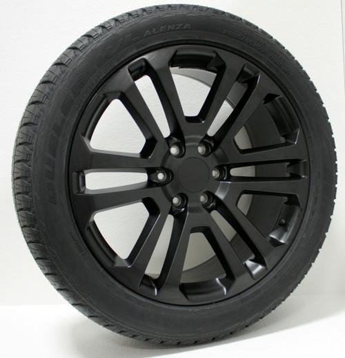 "Satin Matte Black 22"" Split Spoke Wheels with Bridgestone Tires for Chevy Silverado, Tahoe, Suburban - New Set of 4"