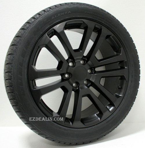 "Satin Matte Black 22"" Split Spoke Wheels with Bridgestone Tires for GMC Sierra, Yukon, Denali - New Set of 4"
