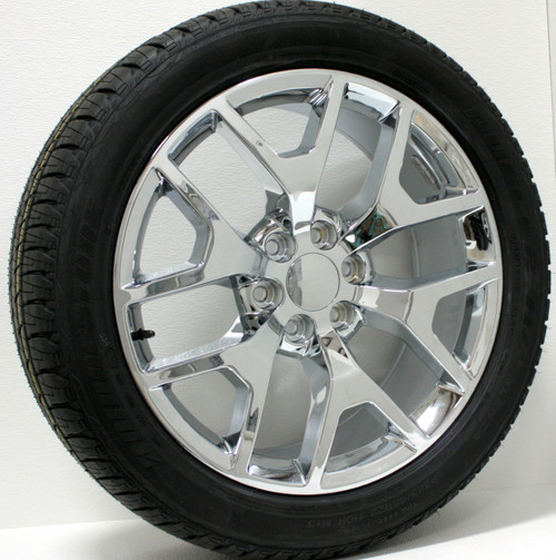 "Chrome 22"" Honeycomb Wheels with Bridgestone Tires for GMC Sierra, Yukon, Denali - New Set of 4"