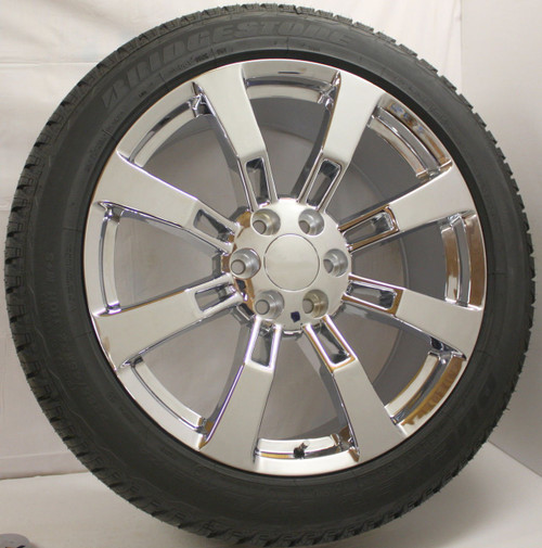 "Chrome 22"" Eight Spoke Wheels with Bridgestone Tires for GMC Sierra, Yukon, Denali - New Set of 4"