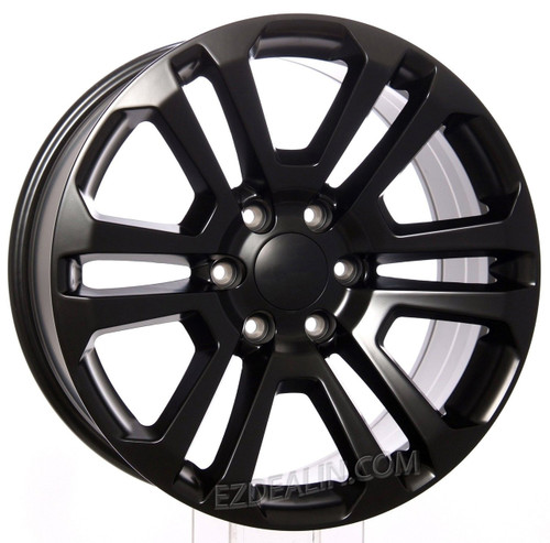 "Satin Matte Black 20"" Split Spoke Wheels for Chevy Silverado, Tahoe, Suburban - New Set of 4"