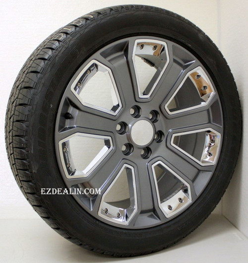 "Gunmetal 22"" With Chrome Inserts Wheels with Bridgestone Tires for Chevy Silverado, Tahoe, Suburban - New Set of 4"