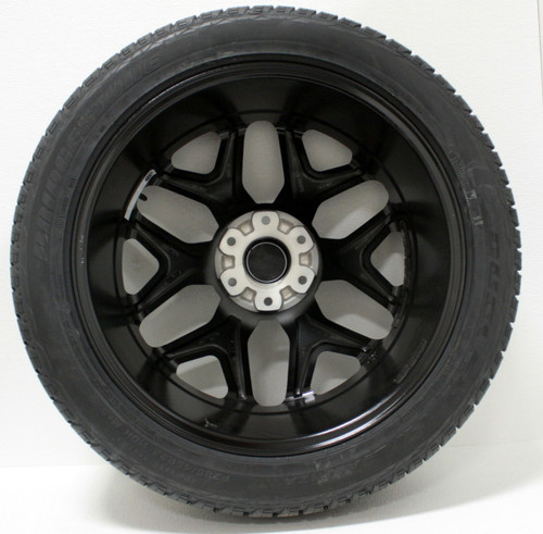 "Satin Matte Black 22"" Snowflake Wheels with Bridgestone Tires for Chevy Silverado, Tahoe, Suburban - New Set of 4"