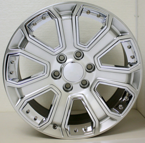 "Hyper Silver 20"" With Chrome Inserts Wheels for Chevy Silverado, Tahoe, Suburban - New Set of 4"