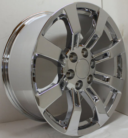 "Chrome 20"" Eight Spoke Wheels for Chevy Silverado, Tahoe, Suburban - New Set of 4"