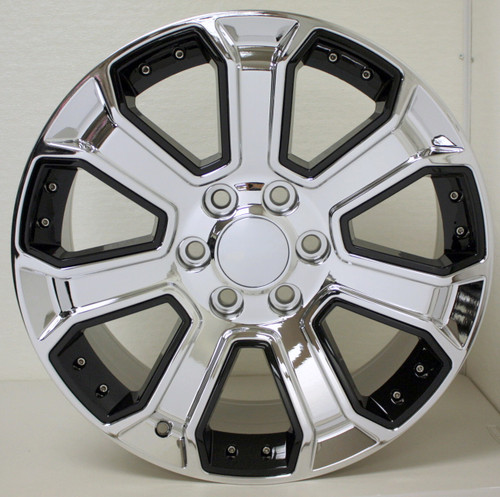 "Chrome 22"" With Black Inserts Wheels for Chevy Silverado, Tahoe, Suburban - New Set of 4"