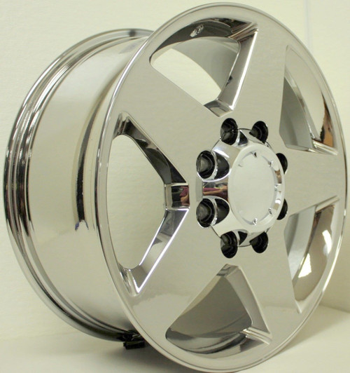 "Chrome 20"" 8 Lug 8-180 5 Spoke Wheels for 2011-2018 Chevy 2500 3500 - New Set of 4"