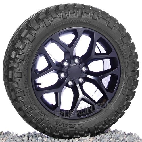 "Satin Matte Black 20"" Snowflake Wheels with Nitto M/T Tires for Chevy Silverado, Tahoe, Suburban - New Set of 4"