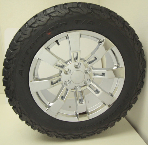 "Chrome 20"" Eight Spoke Wheels with BFG KO2 A/T Tires for Chevy Silverado, Tahoe, Suburban - New Set of 4"