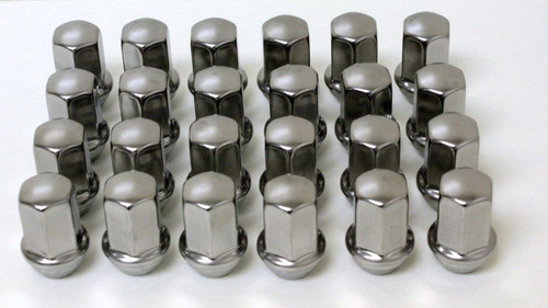 Set of 24 NEW Polished Stainless 14x1.5 Lug Nuts for GM Trucks and SUVs
