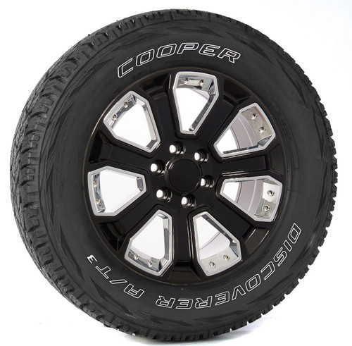 """Gloss Black 20"""" With Chrome Inserts Wheels with Cooper Tires for GMC Sierra, Yukon, Denali - New Set of 4"""