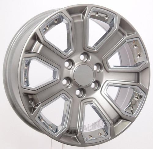 "Hyper Silver 20"" With Chrome Inserts Wheels for GMC Sierra, Yukon, Denali - New Set of 4"