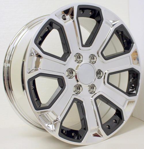 "Chrome 22"" With Black Inserts Wheels for GMC Sierra, Yukon, Denali - New Set of 4"