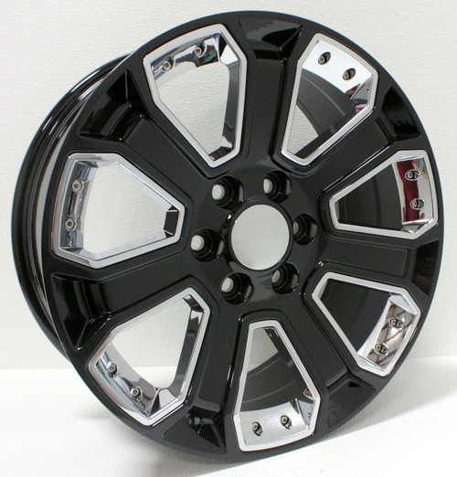 "Gloss Black 22"" With Chrome Inserts Wheels for GMC Sierra, Yukon, Denali - New Set of 4"