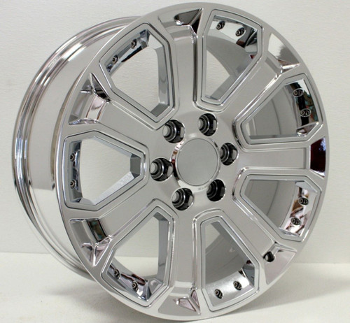 "Chrome 20"" With Chrome Inserts Wheels for GMC Sierra, Yukon, Denali - New Set of 4"