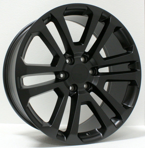 "Satin Matte Black 22"" Split Spoke Wheels for GMC Sierra, Yukon, Denali - New Set of 4"