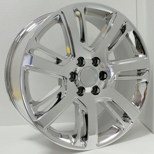 "Chrome 22"" Quarter Split Spoke Wheels for GMC Sierra, Yukon, Denali - New Set of 4"