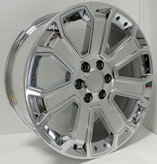 "Chrome 22"" With Chrome Inserts Wheels for GMC Sierra, Yukon, Denali - New Set of 4"