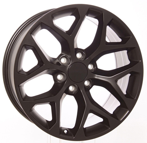 "Satin Matte Black 20"" Snowflake Wheels for GMC Sierra, Yukon, Denali - New Set of 4"