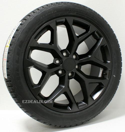 "Satin Matte Black 22"" Snowflake Wheels with Bridgestone Tires for GMC Sierra, Yukon, Denali - New Set of 4"