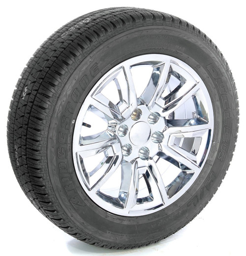 "Chrome 20"" With V Style Chrome Inserts Wheels with Bridgestone Tires for Chevy Silverado, Tahoe, Suburban - New Set of 4"