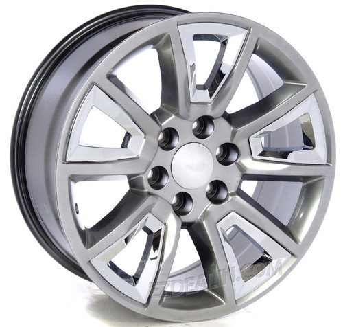"""Hyper Silver 20"""" With New V Style Chrome Inserts Wheels for Chevy Silverado, Tahoe, Suburban - New Set of 4"""