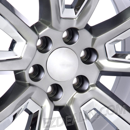 "Hyper Silver 20"" With New V Style Chrome Inserts Wheels for Chevy Silverado, Tahoe, Suburban - New Set of 4"