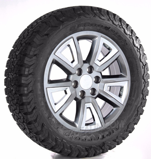"""Hyper Silver 20"""" With V Style Chrome Inserts Wheels with BFG KO2 A/T Tires for Chevy Silverado, Tahoe, Suburban - New Set of 4"""