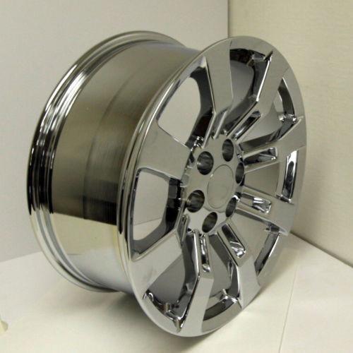 """Chrome 22"""" Eight Spoke Wheels for Chevy Silverado, Tahoe, Suburban - New Set of 4"""
