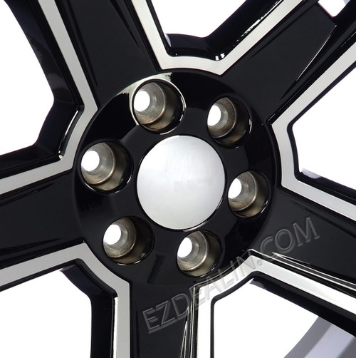 "Black and Machine 22"" Five Spoke Wheels for Chevy Silverado, Tahoe, Suburban - New Set of 4"