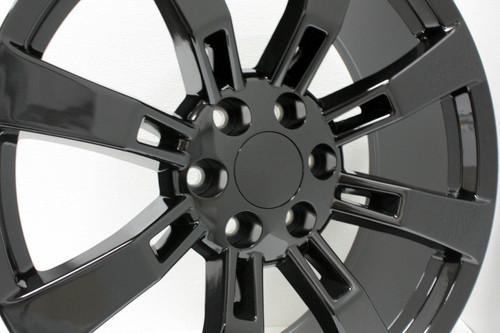 "Gloss Black 22"" Eight Spoke Wheels for Chevy Silverado, Tahoe, Suburban - New Set of 4"