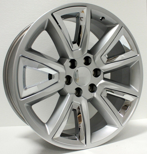 "Hyper Silver 22"" With V Style Chrome Inserts Wheels for Chevy Silverado, Tahoe, Suburban - New Set of 4"