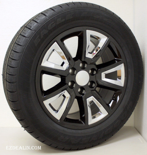 "Gloss Black 20"" New V Style Chrome Inserts Wheels with Goodyear Tires for GMC Sierra, Yukon, Denali - New Set of 4"