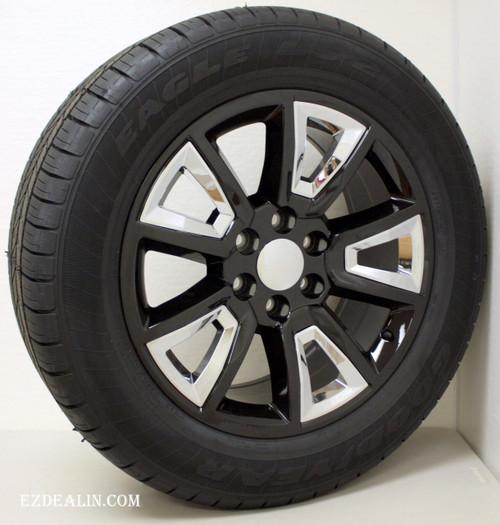 "Gloss Black 20"" New V Style Chrome Inserts Wheels with Goodyear Tires for GMC Sierra, Yukon, Denali - New Set of 4"