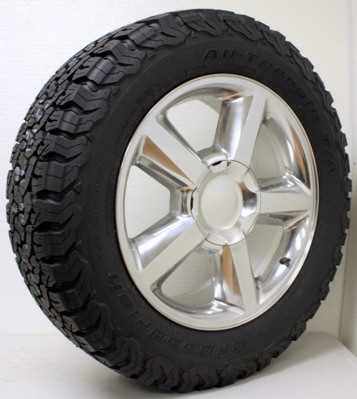 "Polished 20"" Old Style LTZ Wheels with BFG KO2 A/T Tires for GMC Sierra, Yukon, Denali - New Set of 4"
