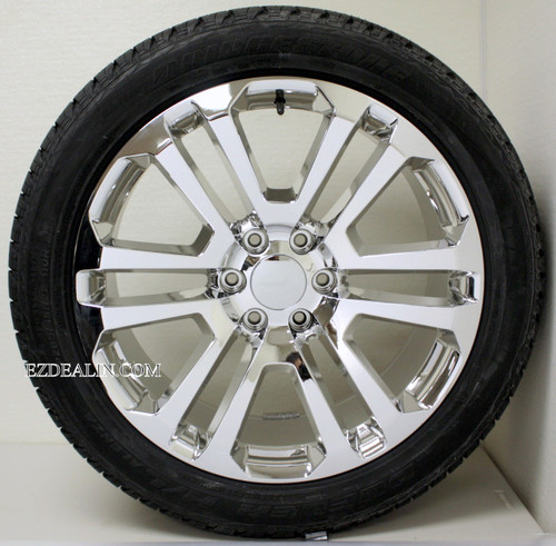 "Chrome 22"" Split Spoke Wheels with Bridgestone Tires for GMC Sierra, Yukon, Denali - New Set of 4"